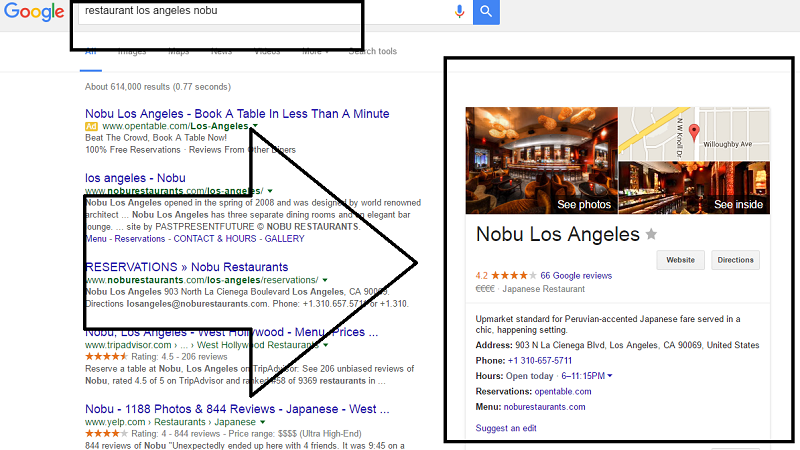 nobu restaurant los angeles in google search results