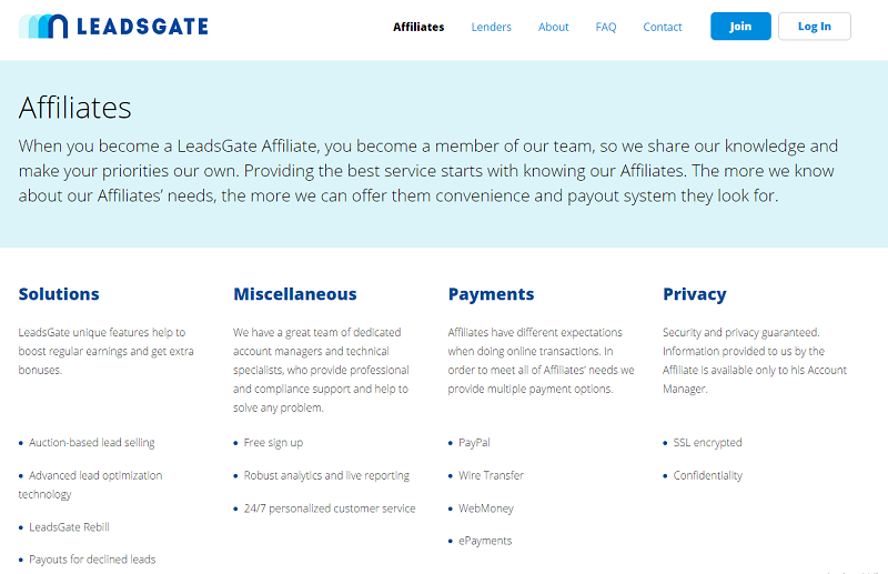 LeadsGate affiliate page screenshot